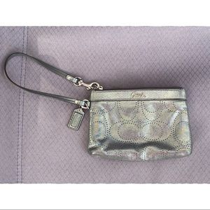 Shiny Metallic Grey Soft Buttered L Coach Wristlet